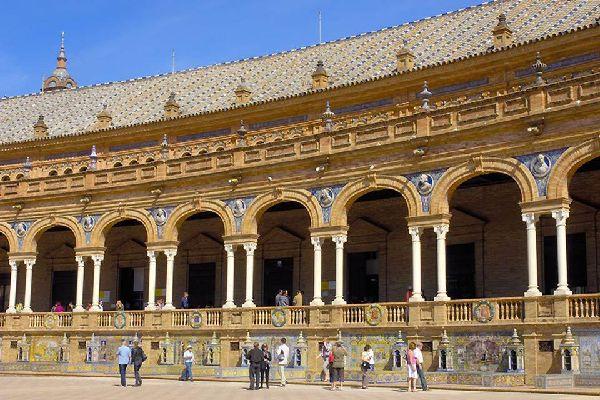 Facciata del municipio di Siviglia, situato sulla piazza di Spagna.