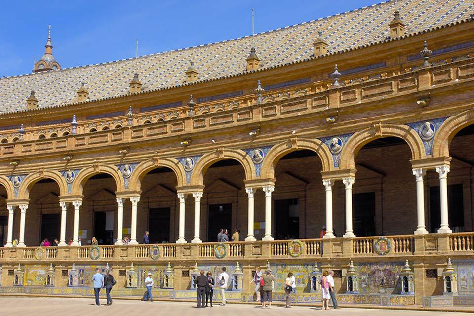 The façade of Seville's town hall, located on the Plaza de España