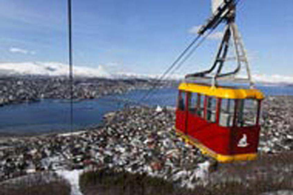 The aerial tramway departs from the valley and ascends to Storsteinen: there is a magnificent view to be seen from the top!