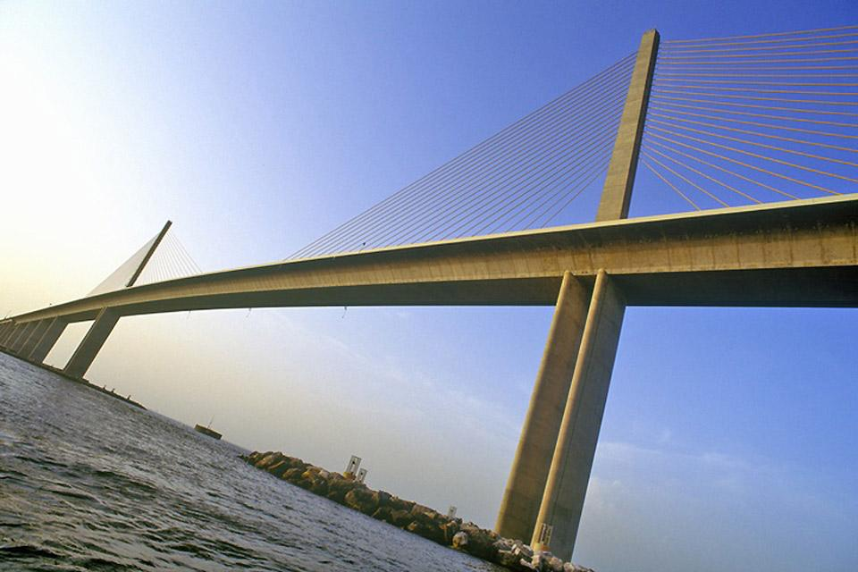 Skyway Bridge in Tampa is 5.5 miles long and links the cities of St. Petersburg and Bradenton.