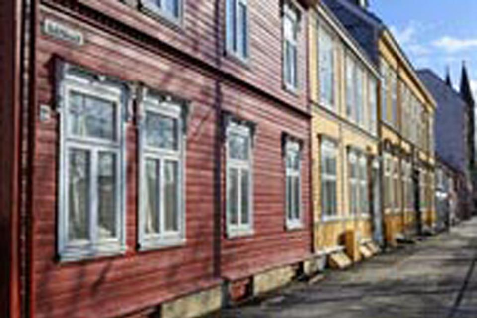 A row of colourful houses in the third biggest city in Norway