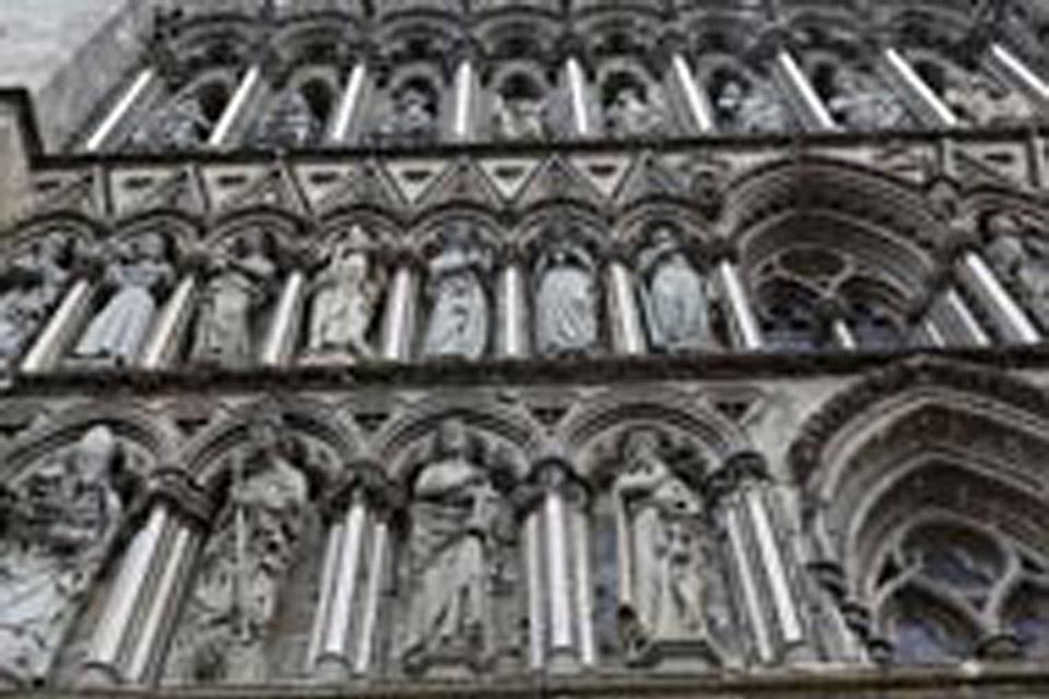 A close-up of the facade of Nidaros cathedral in Trondheim, Norway