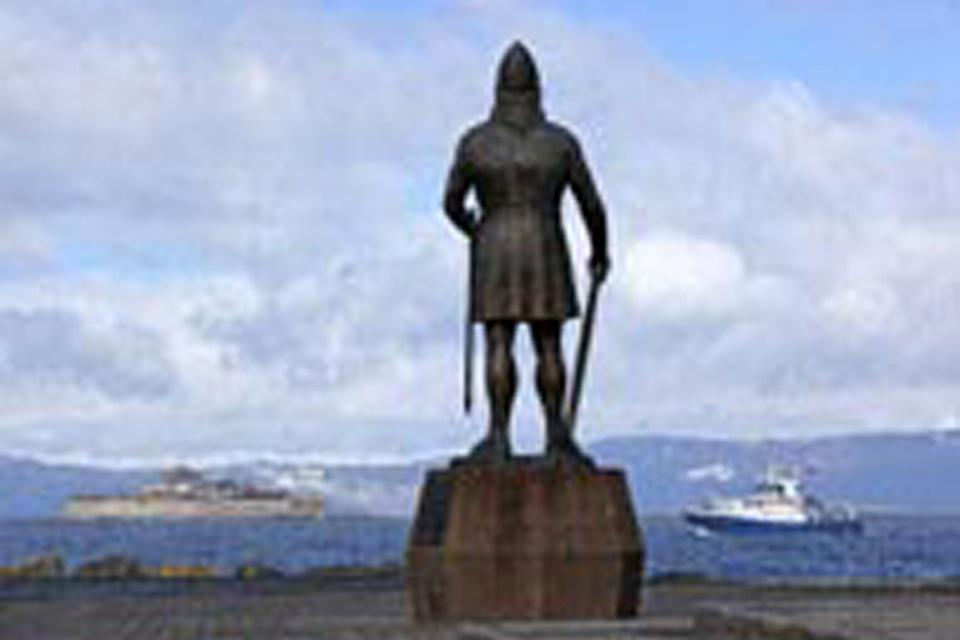 The statue of Leif Erikson stands welcoming the boats into Trondheim port!