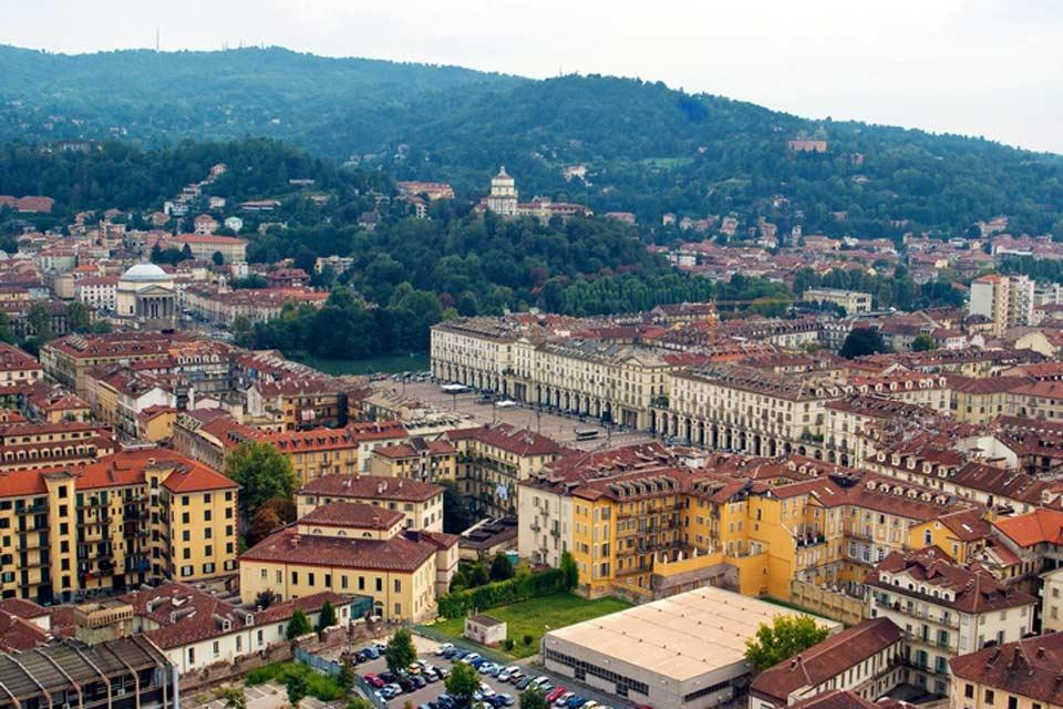 Torino dall'alto: si scorge il Palazzo Reale.