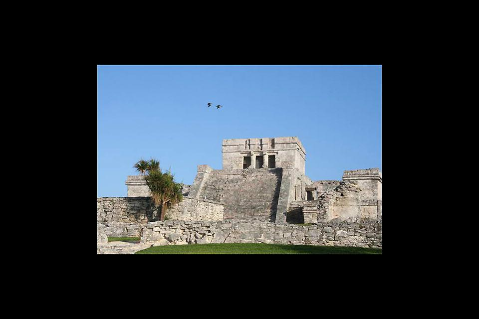 The view of a Mayan archaeological site