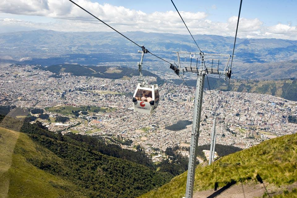 The Cruz Loma cable car overlooking the city of Quito is the highest of its kind in the world.