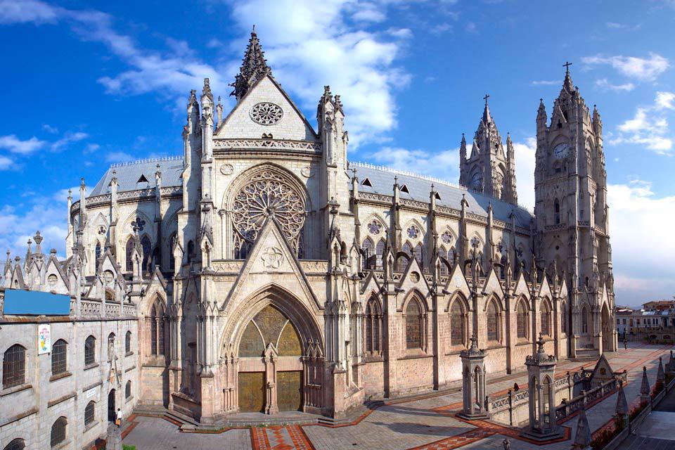 The Basílica del Voto Nacional, the largest Neo-gothic basilica in the Americas, is located in Quito's historic district.
