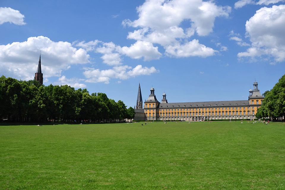The university is an old and beautiful building located in the Hofgarten, the 'Court Gardens'.