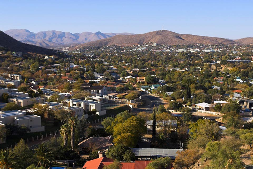 Windhoek, situated in a desert region, is the capital of the Republic of Namibia