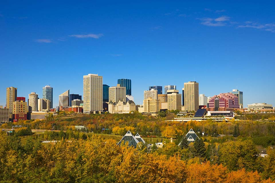 A view of the city of Edmonton in autumn, with the golden leaves of the trees in the foreground