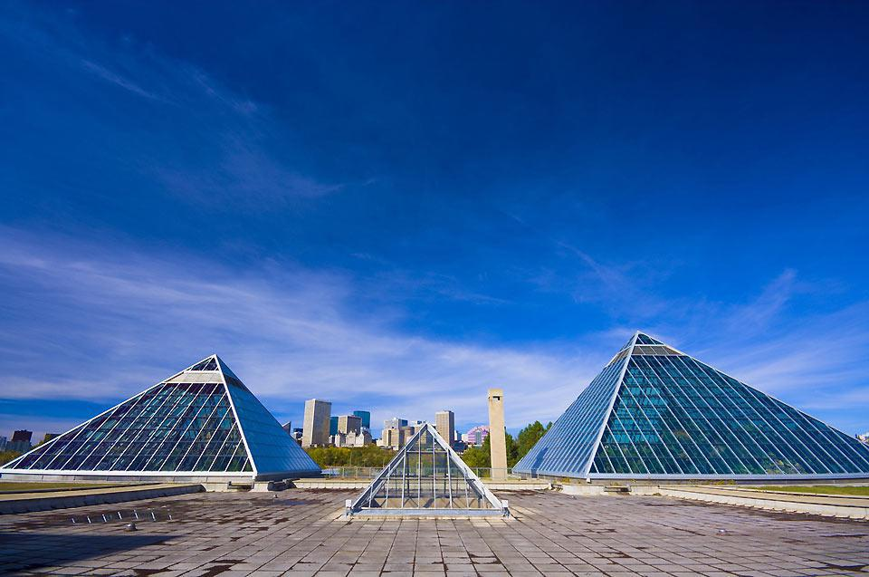 One of Edmonton's most iconic structures, the Muttart Conservatory is a botanical garden made up of four pyramids
