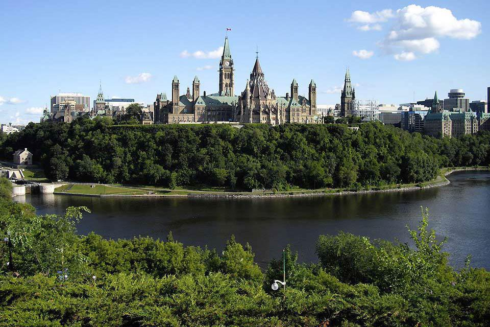 Canada's Parliament is located on Parliament Hill and is composed of three main branches: the Senate, the House of Commons and the Monarch.