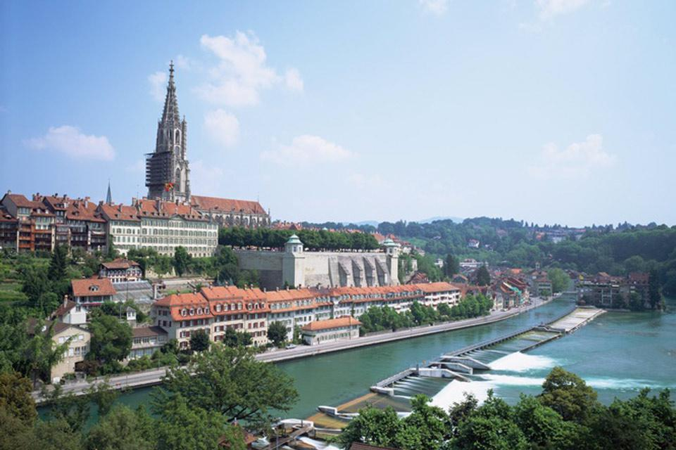 Bern is lapped by the Aare River.