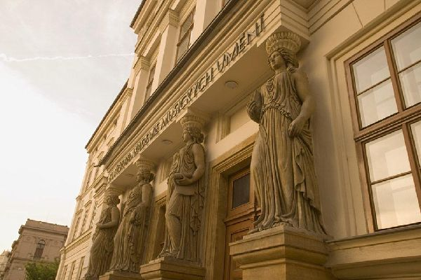 Architectural detail of a facade of Janacek Academy of Music and Performing Arts building in Brno.