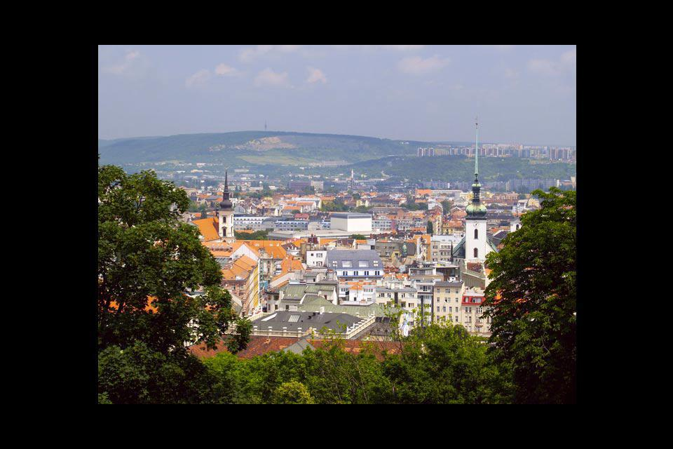 A view across the vibrant university city of Brno. Many business travellers come here for conferences held in the Brno Exhibition Centre.