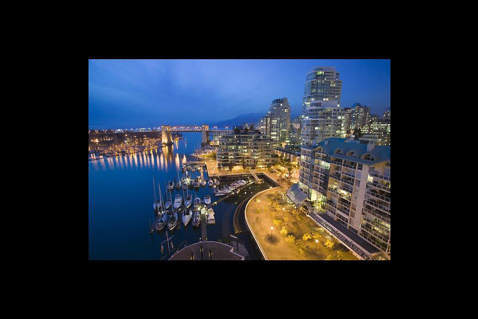An aerial shot of the waterfront in Vancouver