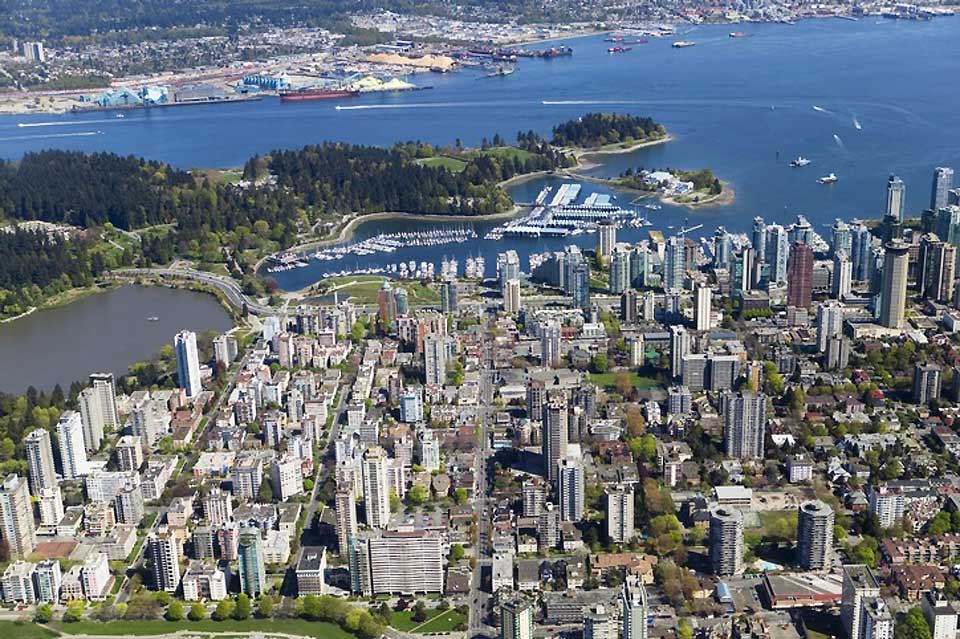 An aerial shot of the city of Vancouver, consistantly voted as one of the most habitable cities in the world