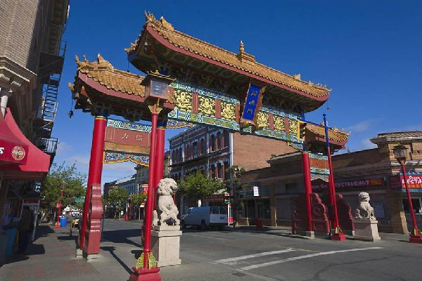 Victoria's Chinatown is the oldest in Canada. Its entrance is known as the Gates of Harmonious Interest