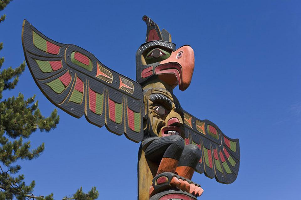 Thunderbird Park is famous for its totem poles which are works of First Nations peoples