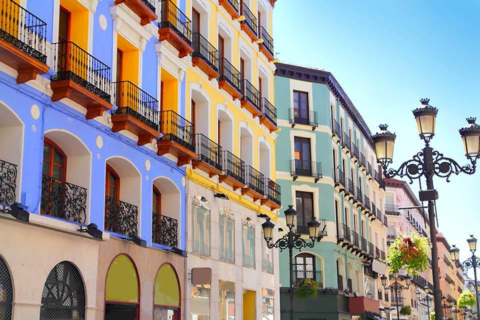 Colorful are the streets of the historic center of the capital of Aragon
