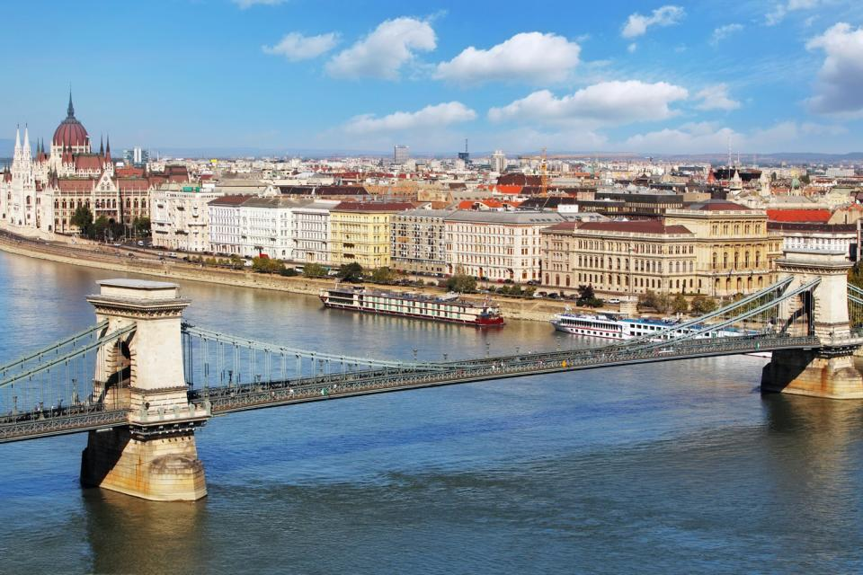 The Chain Bridge, or Széchenyi Lánchíd, was inaugurated in 1873 to celebrate the union of the villages of Buda and Pest.