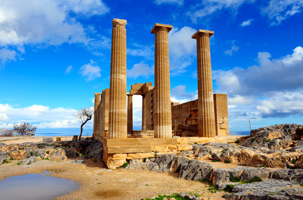 RHODES, GREECE. Acropolis, Lindos.
