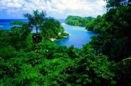 El lago azul, en Jamaica